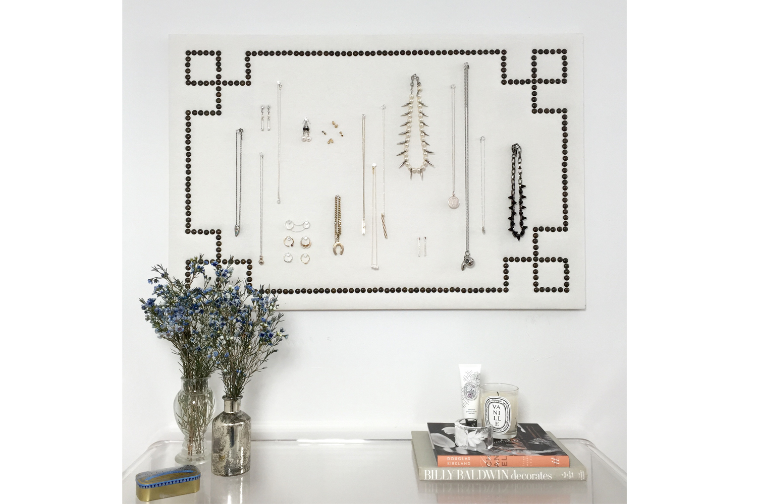 Organize Your Jewelry And Make Chic Wall Art All At Once
