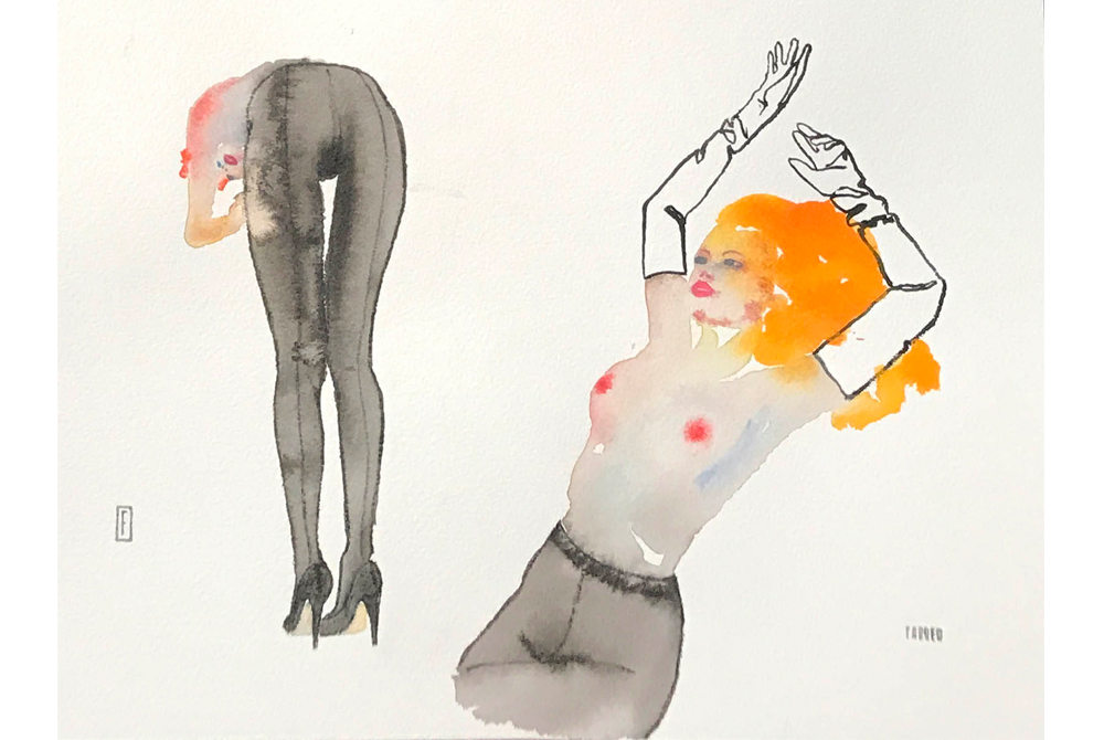 There's A New Exhibition Of Dreamy Watercolors By Fahren Feingold At The Amazing Fleur Du Mal Peep Show Gallery